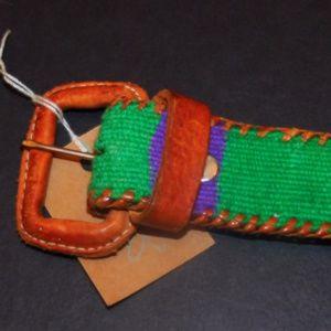 Vintage Needle Point Belt Leather
